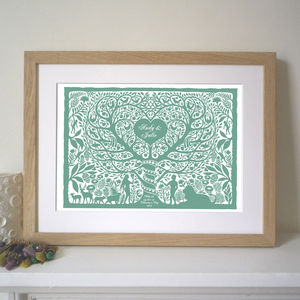 Valentines Adam And Eve Tree Heart Print