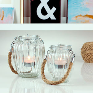 Glass Lantern Rope Handled Candle Holder - votives & tea lights