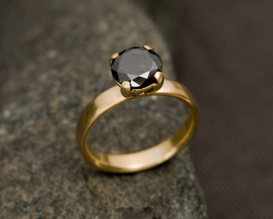 black diamond gold engagement ring by william white