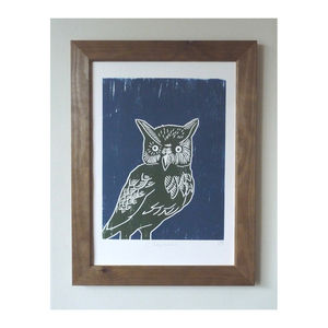 Long Eared Owl Woodcut Poster Print