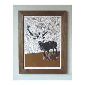 Stag Linocut Poster Print - posters & prints