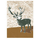 Stag Linocut Poster Print