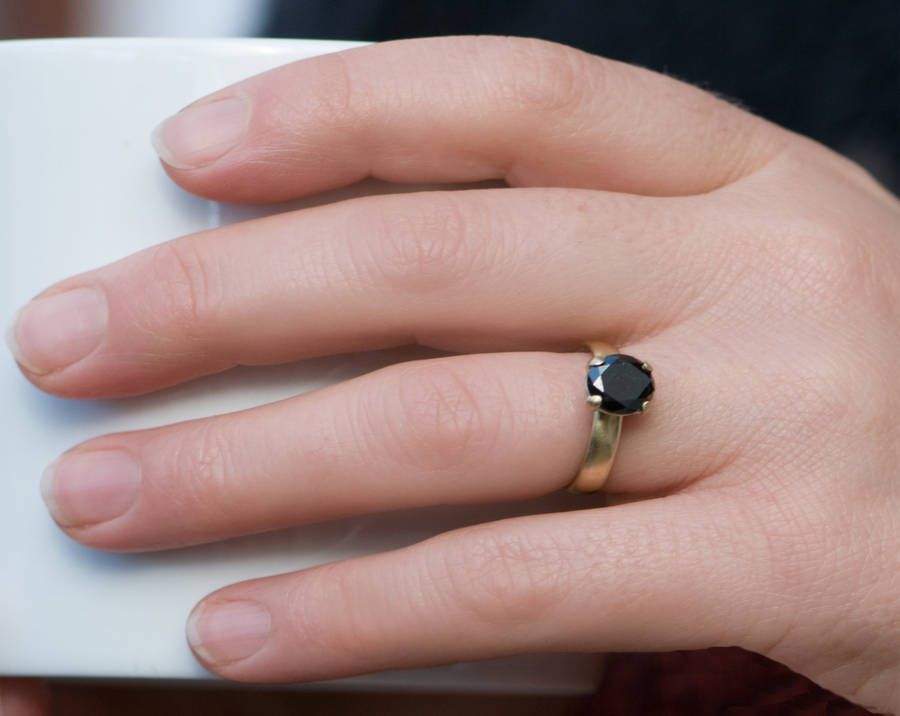 Black Diamond Engagement Ring On Finger | www.pixshark.com ...