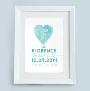 Personalised Heart Print - children's room