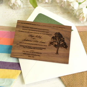 Personalised Wooden Wedding Invitation - invitations