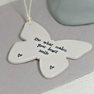 'Do What Makes Your Heart Smile' Butterfly Decoration - ceramics