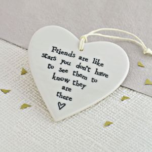 'Friends Are Like Stars' Ceramic Heart - wedding favours