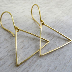 Gold Triangle Earrings - contemporary jewellery