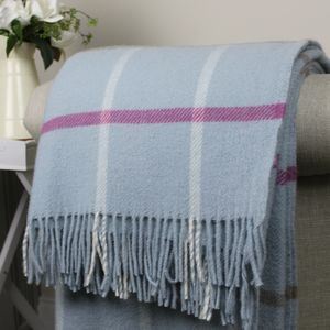 Duck Egg Blue Check Wool Throw - throws, blankets & fabric