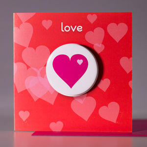 Love Heart Card With Badge To Wear - valentine's cards