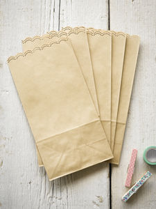 Scallop Edged Brown Paper Bags - gift bags & boxes