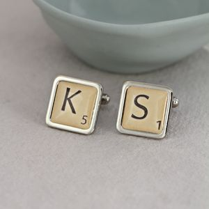 Personalised Letter Tile Cufflinks - cufflinks