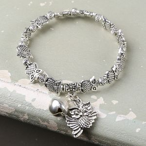Silver Owl Bracelet With Bell Charm