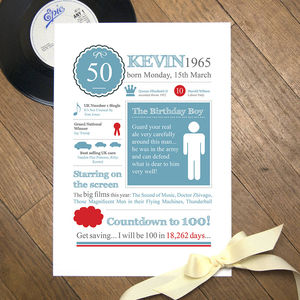 Personalised 50 Birthday 1965 Print
