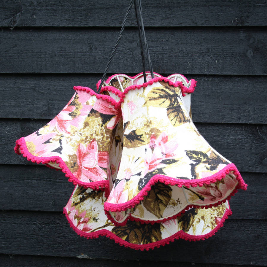 Cluster Light Pendant Of Three Vintage Lampshades By Folly