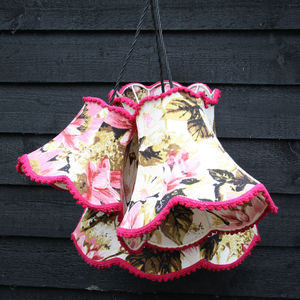Cluster Light Pendant Of Three Vintage Lampshades