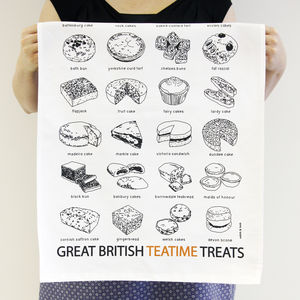 'Great British Teatime Treats' Tea Towel - kitchen linen