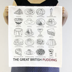 'The Great British Pudding' Tea Towel - kitchen linen