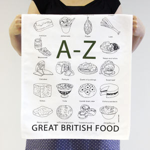 'A To Z Of Great British Food' Tea Towel - kitchen accessories