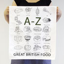 'A To Z Of Great British Food' Tea Towel