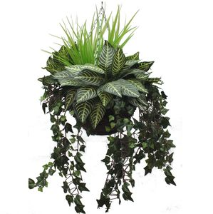 Artificial Tropical Greenery Hanging Basket - outdoor decorations