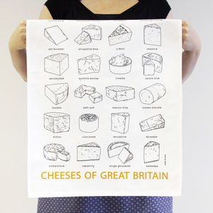 'Cheeses Of Great Britain' Tea Towel