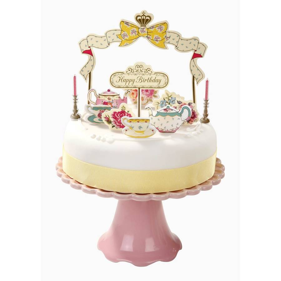 vintage style birthday cake decorations by postbox party ...