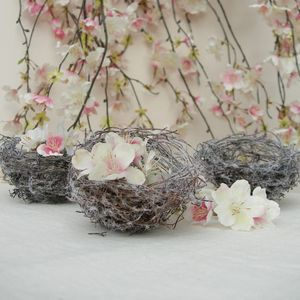 Woodland Wedding Frosted Birds Nests Decorations