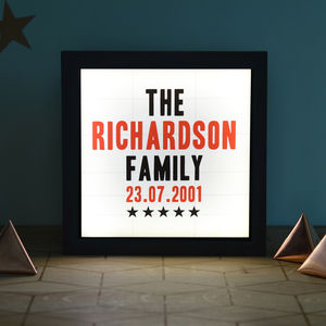 Personalised Vintage Style Family Cinema Light Box - mixed media & collage