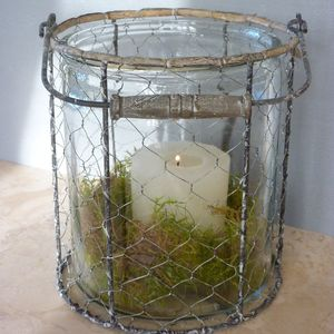 Rustic Wire Hurricane Lantern - votives & tea light holders