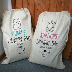Personalised His And Hers Laundry Bag Set - children's room