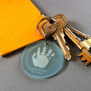 Personalised Handprint Key Ring - keepsakes