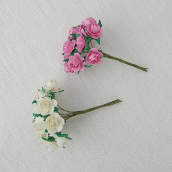 Set Of 12 Tiny Paper Roses