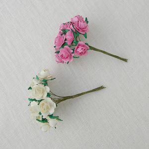 Set Of 12 Tiny Paper Roses With Wired Stems - cake decoration