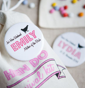 Personalised Hen Do Big Badge Or Pocket Mirror - hen party gifts & styling