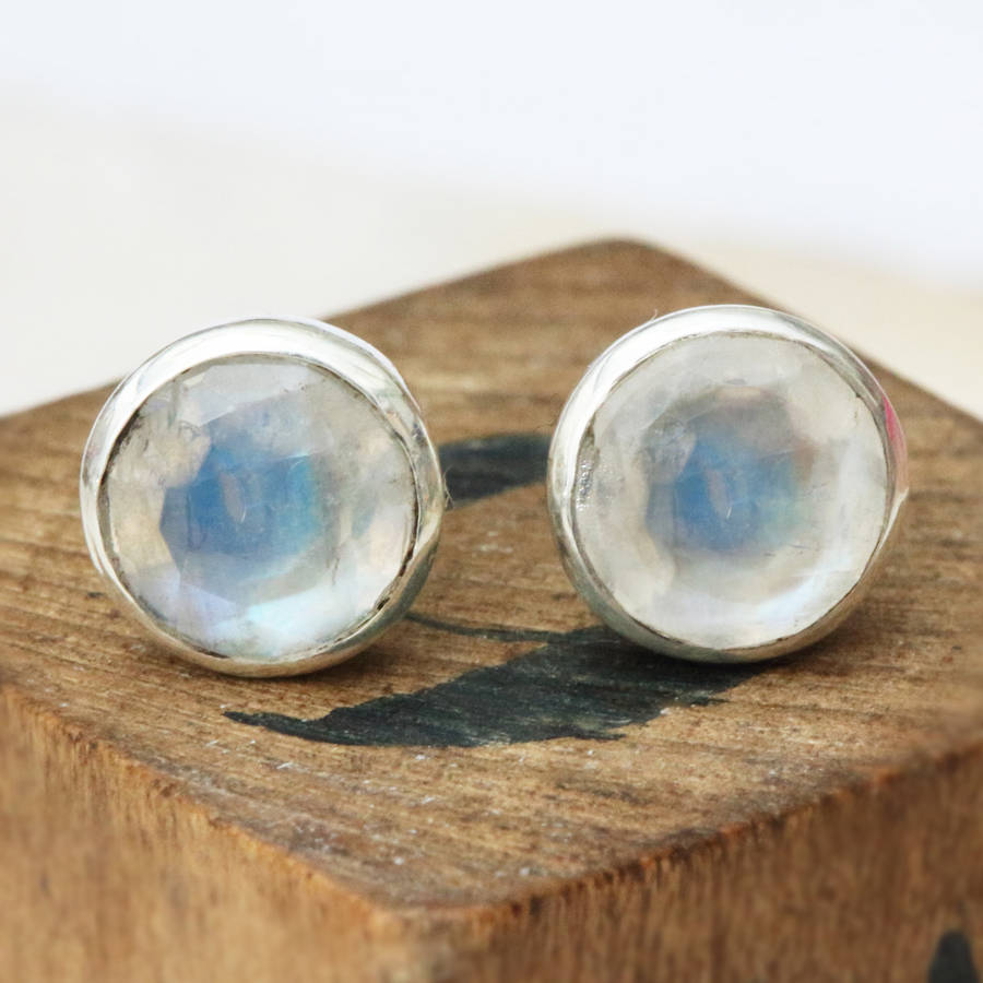 Kamille Sterling Silver Stud And Stone Earrings By Bloom Boutique