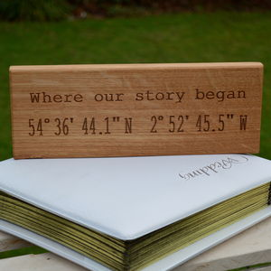 Romantic Engraved Oak Location Sign - 5th anniversary: wood