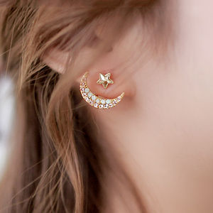 Star With Crescent Two Way Earrings - earrings