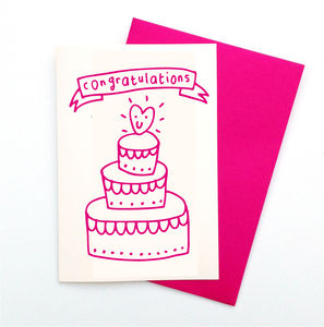 Congratulations Engagement / Wedding Cake Card - engagement cards