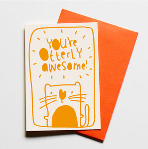 Otterly Awesome Greeting Card - original valentine's cards