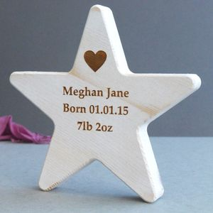 Personalised Baby Wooden Wish Star Keepsake - keepsakes