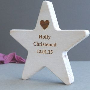 Personalised Wooden Star Christening Keepsake - personalised