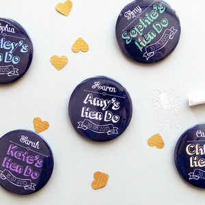 Chalkboard Personalised Hen Party Wedding Badges