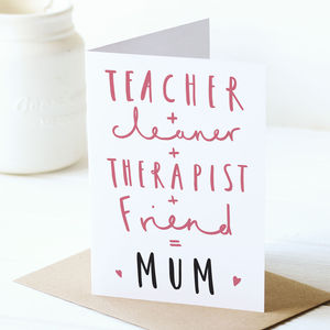 Equals Mum Card - cards & wrap