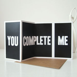 'You Complete Me' Card - anniversary cards