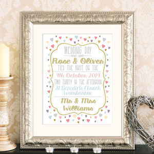 Personalised Wedding And Anniversary Typographic Print