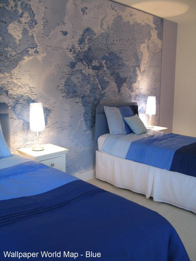 World map wallpaper by maps international for Blue and white bedroom wallpaper