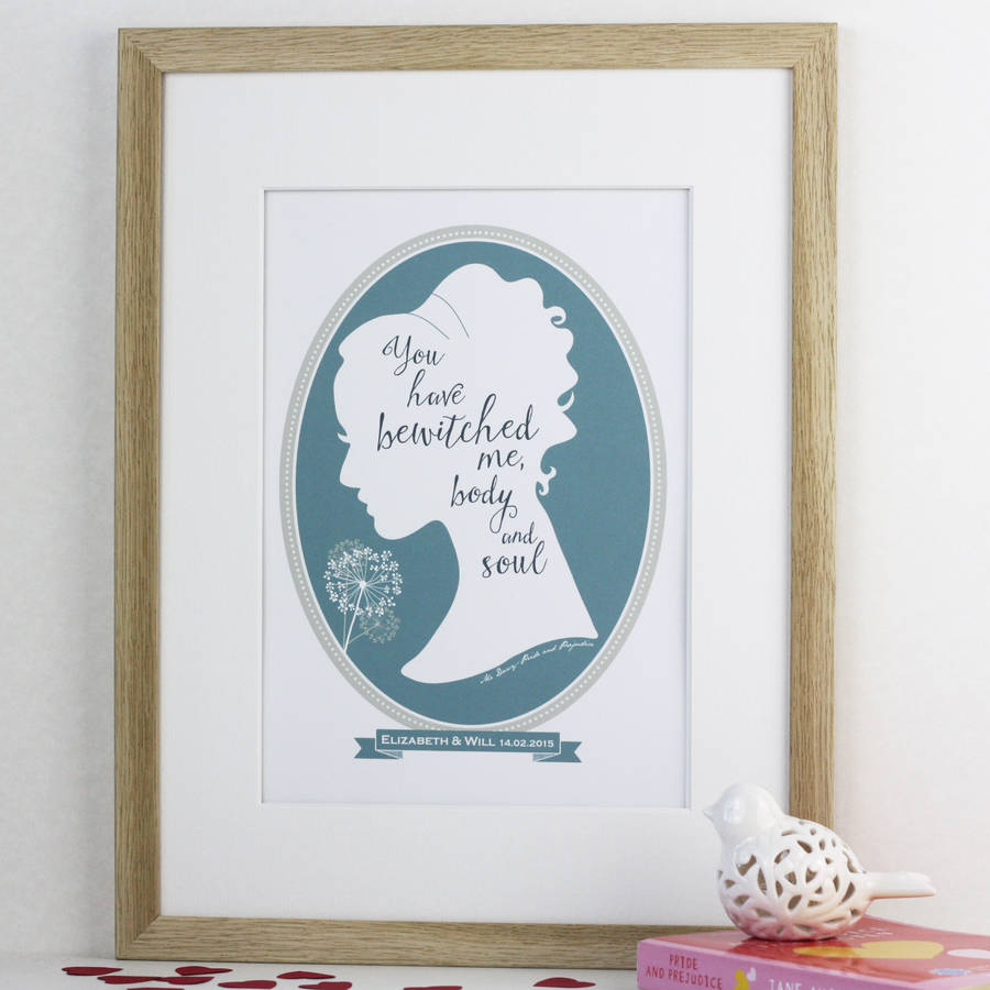 jane austen pride and prejudice love quote print by wink design ...