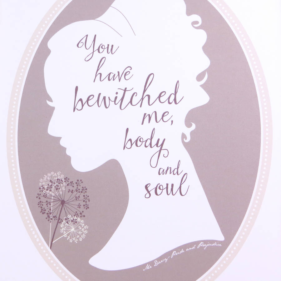 Jane Austen Pride And Prejudice Love Quote Print By Wink Design