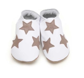 Soft Leather Baby Shoes Stars, White With Taupe Stars